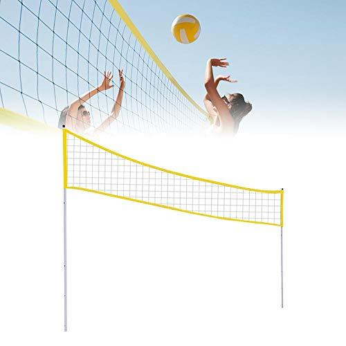 HoneybeeLY Red de voleibol portátil al aire libre, plegable, ajustable, voleibol/bádminton tenis con poste para playa, parque de césped y lugares al aire libre