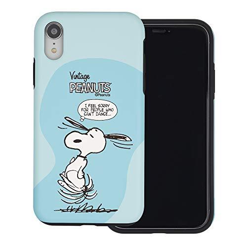 iPhone XR ケース と互換性があります Peanuts Snoopy ピーナッツ スヌーピー ダブル バンパー ケース デュアルレイヤー 【 アイフォンXR 】 (漫画 スヌーピー ダンス) [並行輸入品]