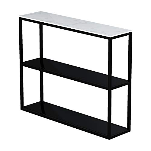 OuPai Table Console Table,Marble 3 Tier Floor-standing Book Shelf Iron Art Storage Rack Hall Side Table Black/White 30 × 9 × 30 Inch for Living Room Bedroom (Color : Black)