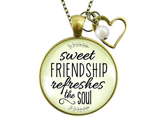 Gutsy Goodness BFF Necklace Sweet Friendship Refreshes Soul Inspirational Pendant Jewelry 24""