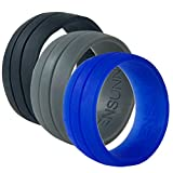 WENSUNNIE Silicone Rubber Wedding Bands for Mens, Men Silicone Wedding Band for Sports Gym Outdoors (3 Pack Tyre Blue/Grey/Black, 10)