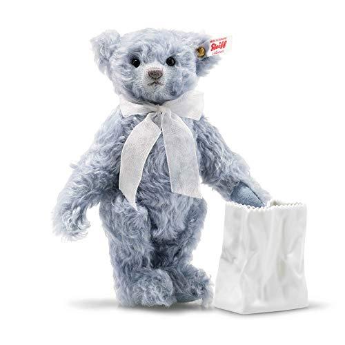 Steiff 006777 Teddybär Lily 24 cm stehend mit Vase limitiert auf 575 St. azurblau blau aus feinstem Mohair 5-Fach-gegliedert Kuscheltier Plüschtier Sammler