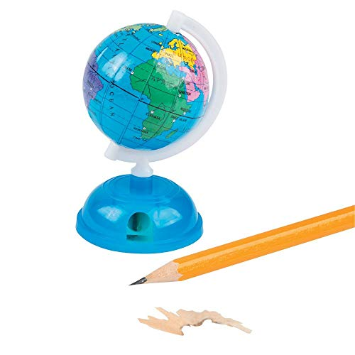 Fun Express Globe Pencil SHARPENERS - Stationery - 12 Pieces