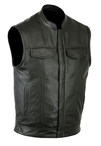 Ruja Sports SOA Style Genuine Leather Motorbike Vest with Inside Pockets (4XL) Black