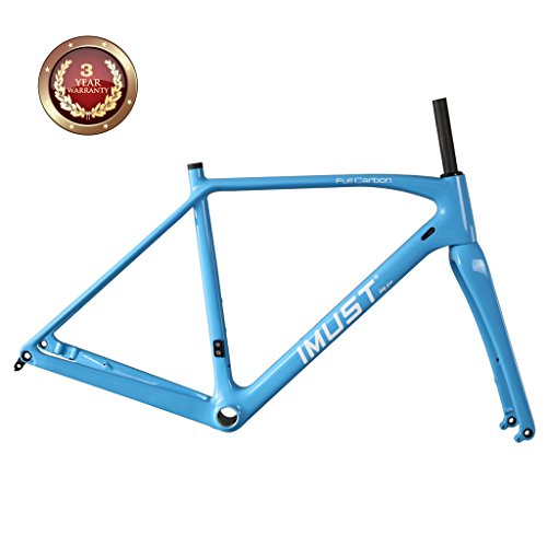 IMUST Carbon Cyclocross Bike Disc Brake Frameset Flat Mount BB86/DI2 for 700C Wheels or 29er Wheels 53cm