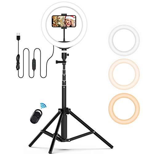 Jeemak Selfie Ringlicht mit Stativ, Dimmbare LED Ringleuchte Blitzgeräte mit Fernbedienung, 10 zoll / 25.4 CM Licht Kreis Ring für Make-up, YouTube Videoaufnahmen, Tiktok und Fotografi für iOS/Android
