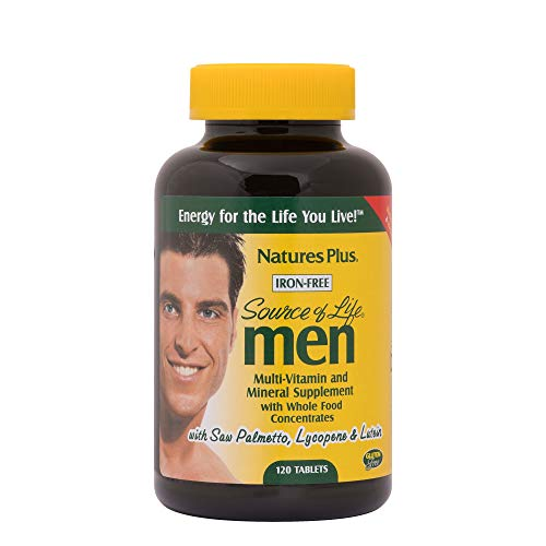 NaturesPlus Source of Life Men Multivitamin - 120 Vegetarian Tablets - Whole Food Supplement - Natural Energy Production & Overall Wellbeing for Men - Gluten-Free - 60 Servings