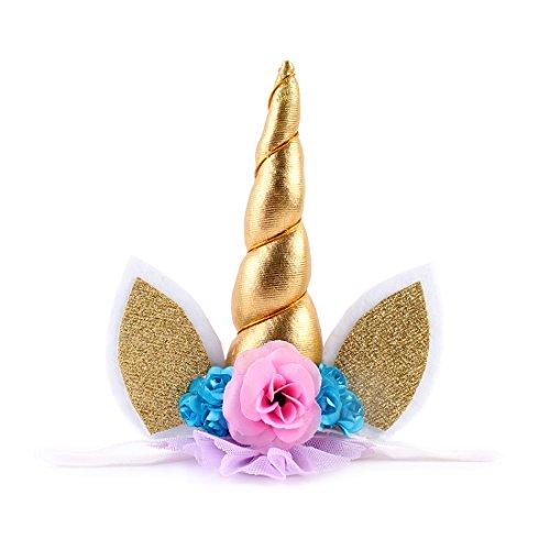 JMITHA Haarreif Einhorn Elastisch Einhorn Blumenmädchen Haarschmuck Verkleiden für Hochzeit Party Karneval Head Accessoires (Golden)