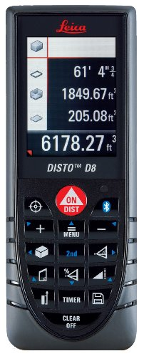 Leica DISTO 764558 D8 Hand Held Laser Distance Measurer with Bluetooth and Color Display -
