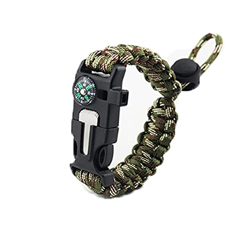 of bracelet with survival whistles XSMY Survival Bracelet, Flint Igniter, Survival Whistle, Compass and Rope Cutter, Urban Outdoor Survival Bracelet with Adjustable Umbrella Cord