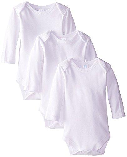 Spasilk Unisex-Baby Infant 3-Pack Long Sleeve Lap Shoulder Bodysuit, White, New Born