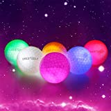 Crestgolf Flashing Glowing Golf Ball,Night Glow Flash Light up LED Golf Ball (6 Pack),six Color for Your Choice (Mixed Color)