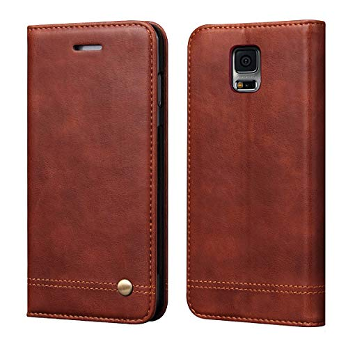 Galaxy S5 Case,RUIHUI Classic Leather Wallet Book Style Folding Flip Protective Shock Resistant Case Cover with Card Slots,Kickstand Magnetic Closure for Samsung Galaxy S5 (Brown)