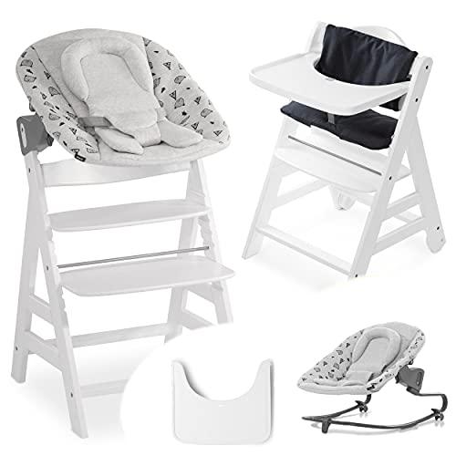 Hauck Beta Plus Newborn Set Premium - Trona evolutiva madera con Hamaca bebé recién nacido en algodón, cojín de asiento acolchado y bandeja - blanco Nordic Grey