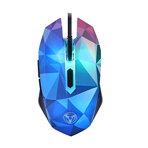 Gaming-muis, ergonomische optische muis, niveau 1000 – 3200 dpi 4, 6 toetsen, LED-achtergrondverlichting, RGB, gaming-muis, PC, laptop, PC, Mac, Windows, Linux (Diamond Illusion Edition)