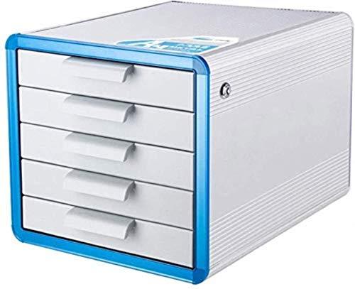 Archivadores Armarios de archivos planos del archivo vertical 5 del cajón con cerradura de almacenamiento de datos Gabinete - Aleación de aluminio - Plata 28.6 * 34.6 * 25.3cm Inicio Muebles de Oficin
