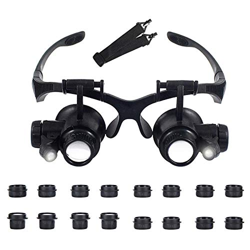 AORAEM Headband Magnifier with LED Light Magnifying Glass Loupe with 8 Interchangeable Lens 2.5X/ 4X/ 6X/ 8X/ 10x/ 15x/ 20x/ 25x for Jewelry Clock Electronics Repair Black (Black)