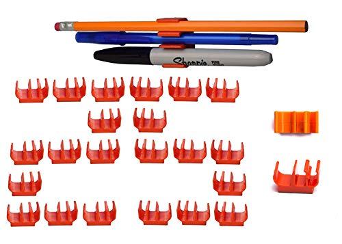 (25 pk) Medium Duty Adhesive Pencil Holder Pen and Marker Clip - Great for Hard hat, Toolbox, Desk, Locker, Fridge, Artist, Easel, etc.