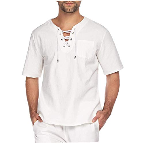 Ohomr Moda Hombres Camiseta de algodón de Lino T Hippie Yoga Camisas con Cuello en V Large White
