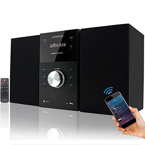 LONPOO Stereoanlage Micro-System HiFi Kompaktanlage mit CD Player, Bluetooth, UKW Radio, USB, AUX-in, Großes LED-Display und Knopf, Fernbedienung (Schwarz)