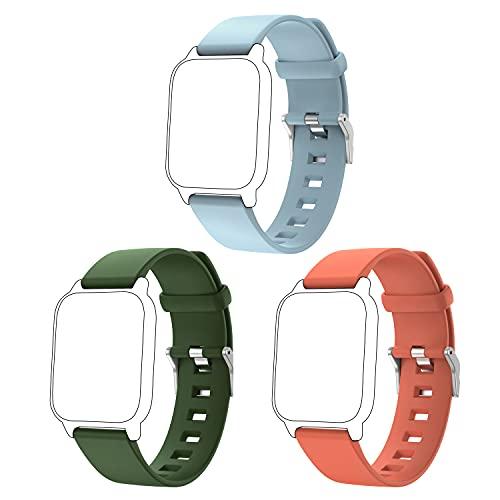 ENGERWALL Correa de Repuesto (Azul cielo + Verde militar + Naranja), solo para ENGERWALL Smartwatch