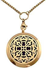 """Essential Oils Diffuser Jewelry Aromatherapy Necklace Gold Plated 316 Stainless Steel Old World Cross Pendant Locket 24"""" 2.5mm Chain and 7 Washable Refill Pads"""