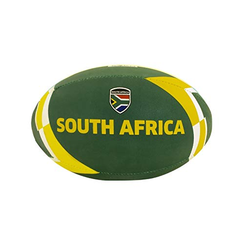 DRB DRIBBLING Rugby Ball - Official Size 5 for Practice and Match Play - Hand-Stitched - Standard Adhesive Grip - Country Flags (South Africa)
