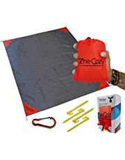 Sand Free Compact Beach Blanket - Pocket Picnic Sheet for Outdoor Multiple Use | Best Mat for Travel & Festivals, Soft & Quick Drying with 4 Portable Hiking Sticks (Strawberry Red)