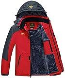 3. MoFiz Men's Snowboarding Jackets Winter Sports Coat Skiing Fleece Down Jacket With Pocket Zipper Red Size L