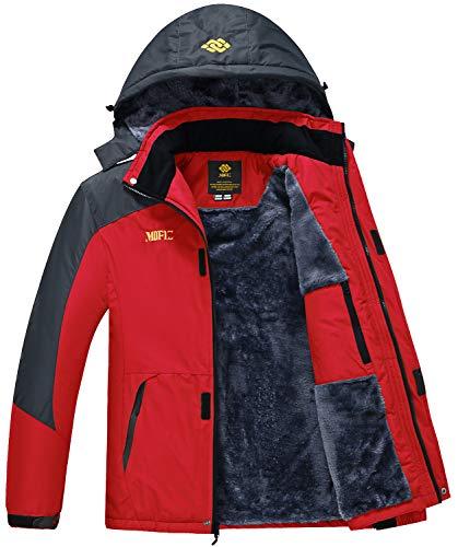 MoFiz Men's Snowboarding Jackets Winter Sports Coat Skiing Fleece Down Jacket with Pocket Zipper Red Size S