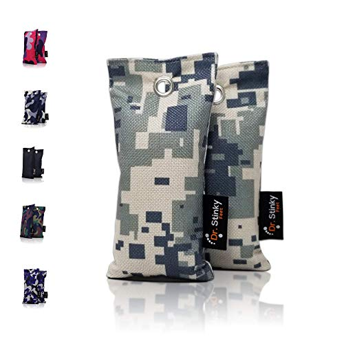DR. STINKY FEET Activated Charcoal Shoe Deodorizer Bags and Odor Eliminator. CAMO Collection with Moisture Absorber Clay Beads. for Shoes, Gym Bag, Boxing Gloves, Sports Gear 2 Pack Large 220g Each
