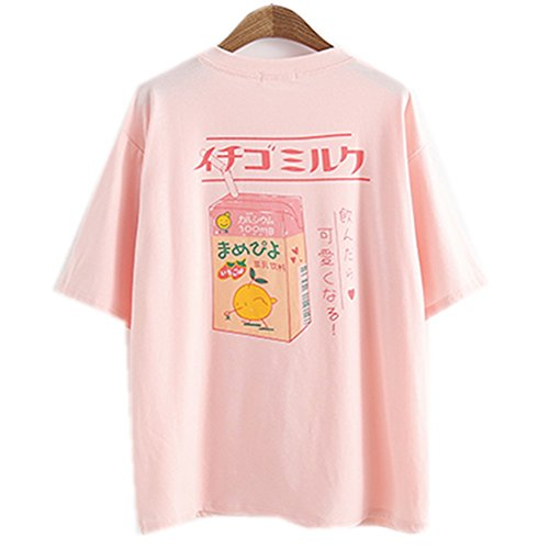 Damen-T-Shirt, Sommer-Top, Mädchen, japanischer Stil, Kawaii Fruchtsaft Baumwoll-T-Shirt Little Fresh Gr. Einheitsgröße, rose