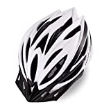 MOKFIRE Adult Bike Helmet for Men Women with Removable Visor & Rear Light CPSC Certified Bicycle Cycling Helmet Adjustable Lightweight Mountain Road Helmets,White Black Matte