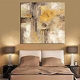 Pittura a olio astratta gialla di grandi dimensioni su tela Poster di arte scandinava Immagine da parete per soggiorno 40x40 CM (sans cadre)
