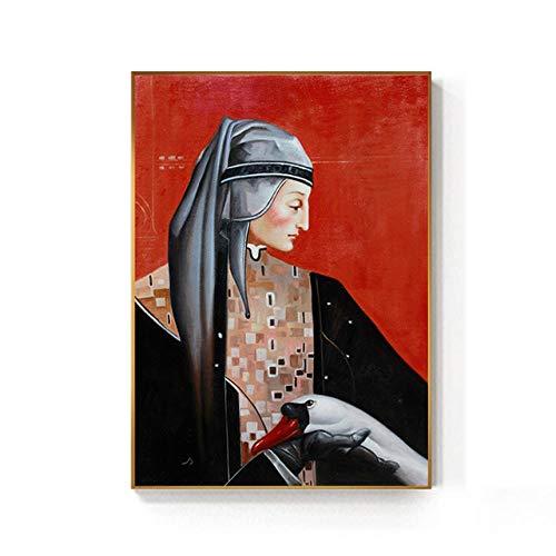NOBRAND Caballero Medieval Europeo Hermosa Dama Pintura impresión affiche Retro Classique Arte de Pared para Sala de Estar Pasillo sin Marco-a_40x60cm