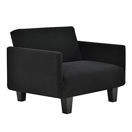 [neu.haus] 1-Sitzer Sesselbezug Schwarz für Breite 70-120cm Sesselhusse Sesselüberzug Schonbezug