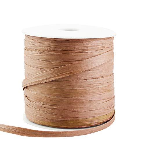 SUGERYY SUGERYY - Cinta de papel de rafia de 229 yardas para manualidades, cuerda de papel de embalaje para regalos de festivales, decoración y tejido, 1 1/4 pulgadas de ancho natural