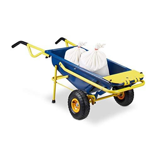 Relaxdays Sackkarre 8-in-1, Multifunktionale Schubkarre, 65 L, Müllsackständer, 136 kg, blau / gelb