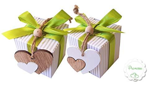 Irpot Kit 20 portaconfetti bomboniera promessa Matrimonio nastrino bigliettini Fiore (Cuori Due Colori 51250)