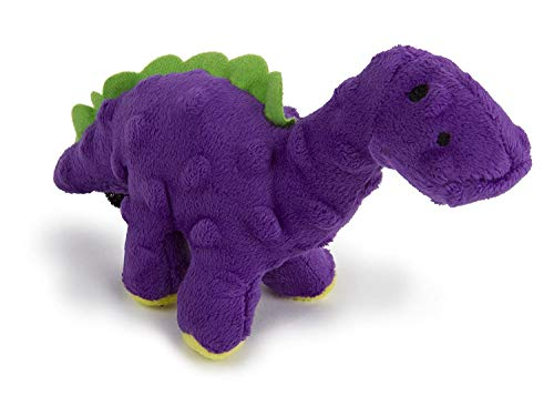 goDog Just for Me Bruto Dino with Chew Guard Technology Mini Plush Dog Toy, Purple
