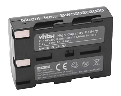 vhbw Batería reemplaza Konica Minolta NP-400 para cámara Digital, DSLR (1200mAh, 7,2V, Li-Ion)