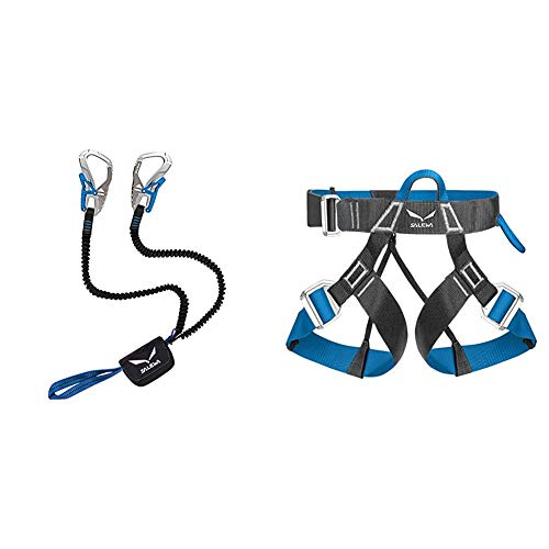 SALEWA Set VIA FERRATA Ergo CORE, Silver, Uni & Unisex Klettergurt VIA Ferrata EVO, Carbon/Polar Blue, M/XXL, 00-0000000804