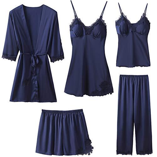 Superora 5PC Schlafanzüge Nachthemd Set für Damen Satin Morgenmantel Spitze Lace Bademantel Shorts Rock Hosen