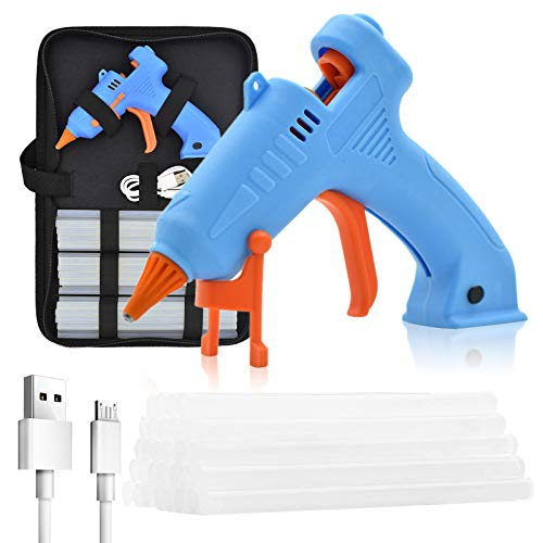Cordless Glue Gun Rechargeable, Mini Wireless Hot Glue Gun Kit with Case, Stand & 30pcs Sticks for Crafts, Decorations, Small DIY Projects of School, Home Quick Repairs and Office Artistic Creation