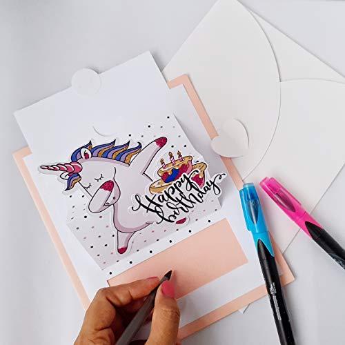 Tarjeta de felicitación para cumpleaños pop-up de unicornio en 3D