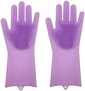 A vey New brand silicone materials purely reusable gloves with scrabblers attached for multiple work of kitchen dish-wash ...