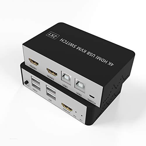 KVMSwitchHDMI, USB 2 PortsKVM Switch 2 PC 1 Monitor, HDMI USBUmschalter Tastatur und Maus teilen Unterstützung 4K@30Hz 3D für PC, PS4, Xbox HDTV, Hotkey Switch, Mit 2 USB Cables, 1 Switch Cable
