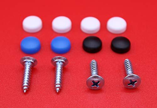 Alex-OnlineShop 12 teiliges Kennzeichenschrauben Set 4,8 x 19mm Kennzeichen Schrauben inkl. Abdeck-Kappen passend für PKW LKW Motorrad Quad Nummernschild