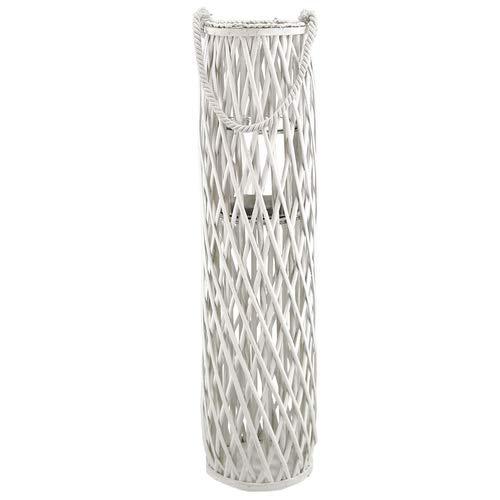 XXL Laterne Rattan mit Glas-Windlicht, weiss, Höhe ca. 90cm