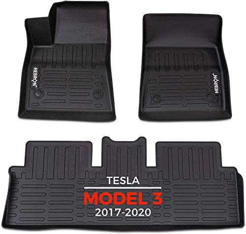 Hebron - Tesla Model 3 (2017-2021) Floor Mats, All Weather TPE Rubber Floor Liner